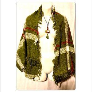 Accessories - Olive Green Plaid Kimono Wrap Scarf